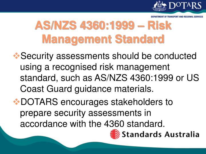 AS/NZS 4360:1999 – Risk Management Standard