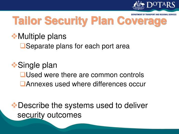 Tailor Security Plan Coverage