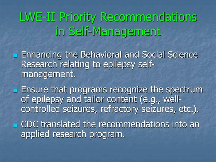 LWE-II Priority Recommendations