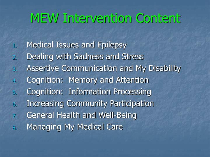 MEW Intervention Content