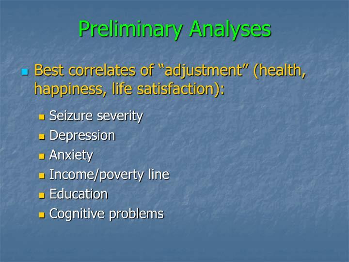 Preliminary Analyses