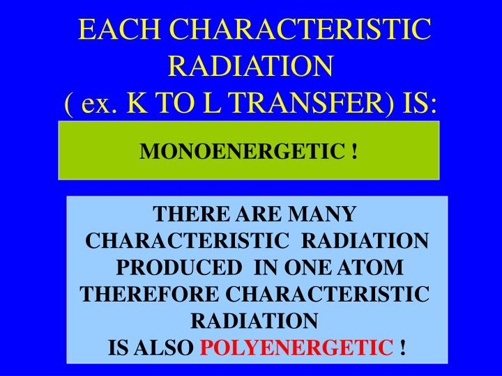 EACH CHARACTERISTIC RADIATION