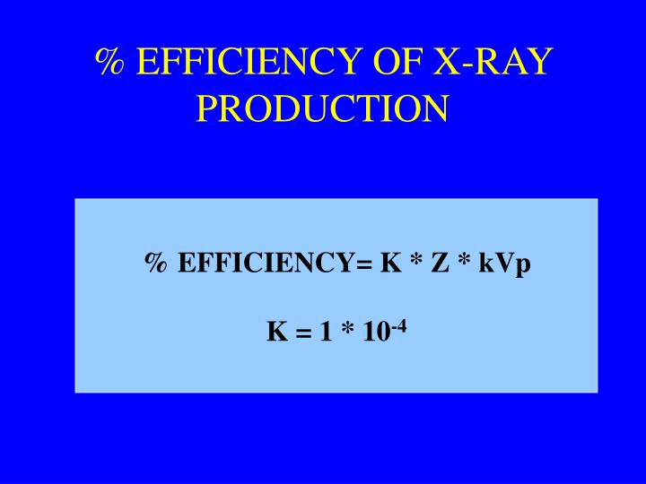 % EFFICIENCY OF X-RAY PRODUCTION