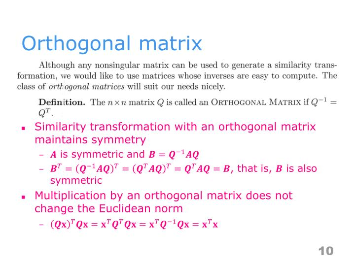 Orthogonal matrix