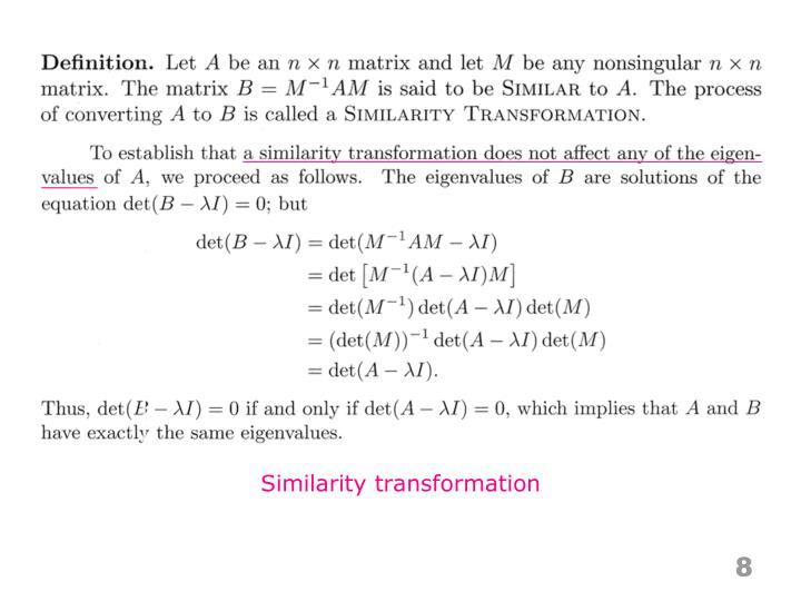 Similarity transformation