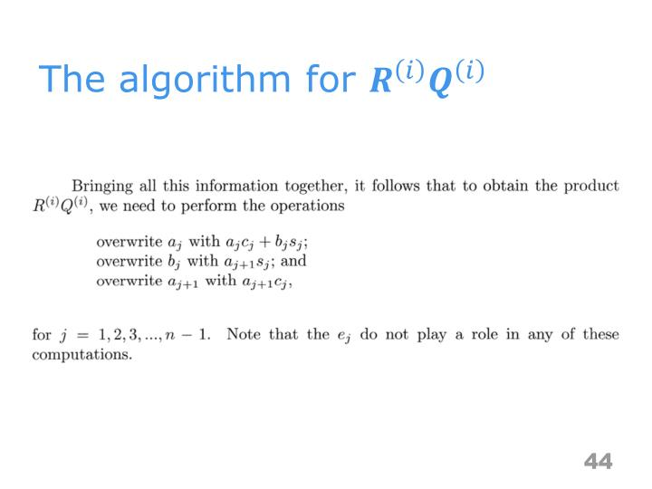 The algorithm for