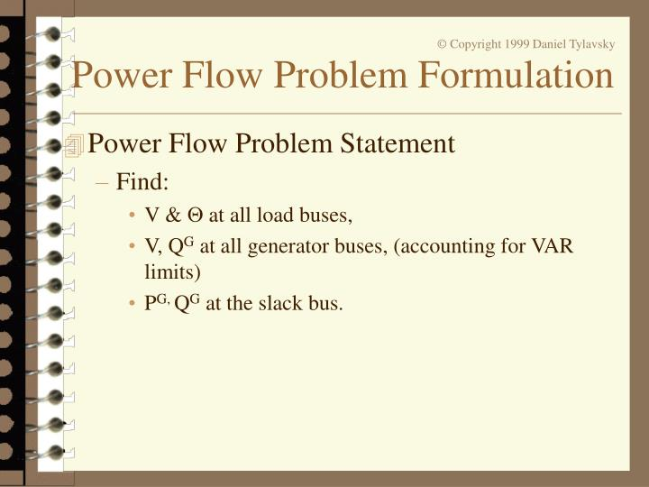 Power Flow Problem Statement