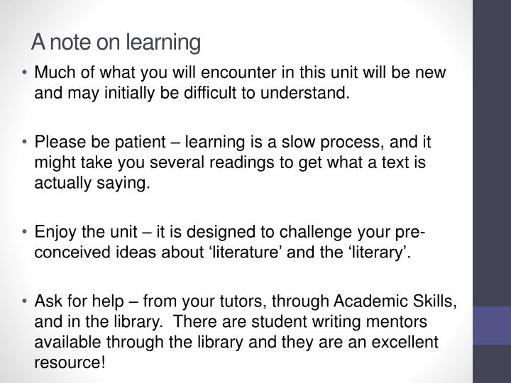 A note on learning