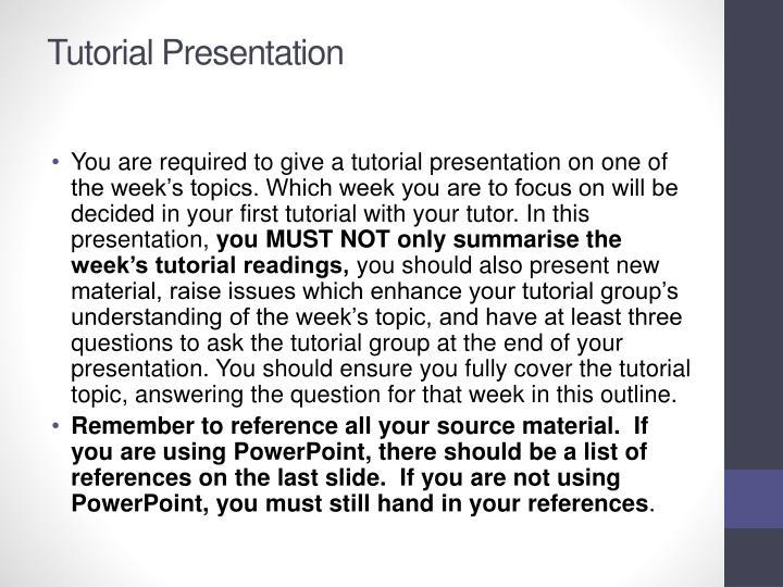 Tutorial Presentation