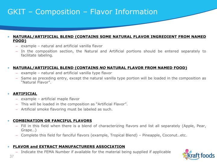 GKIT – Composition – Flavor Information