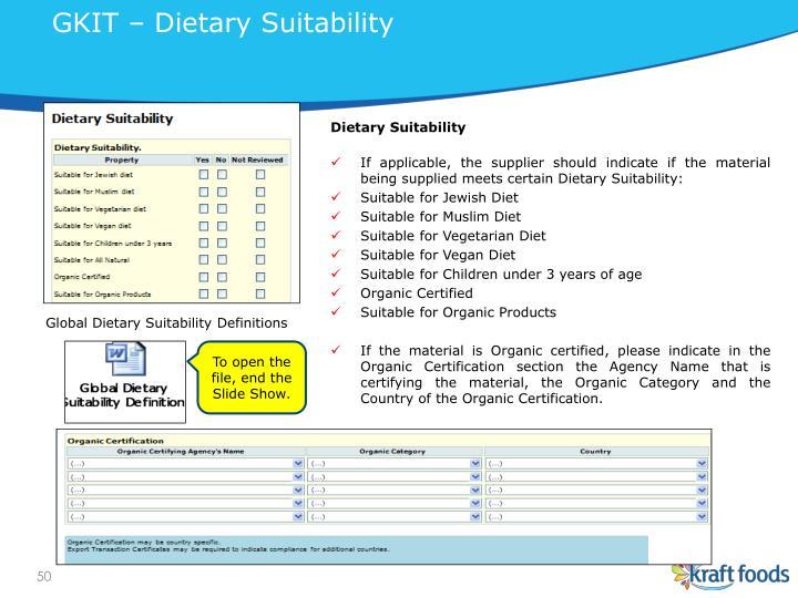 GKIT – Dietary Suitability