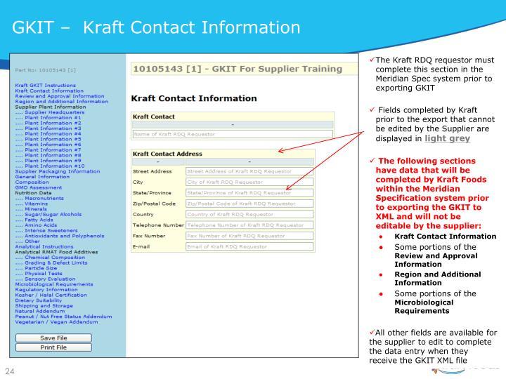 GKIT –  Kraft Contact Information