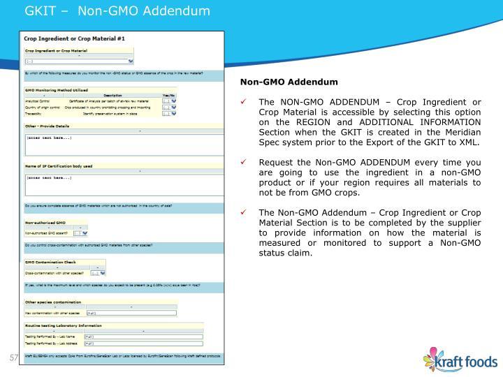 GKIT –  Non-GMO Addendum