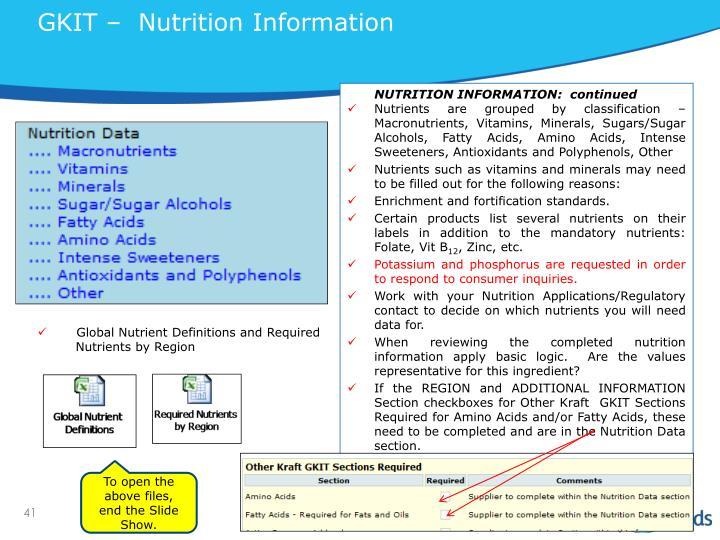 GKIT –  Nutrition Information