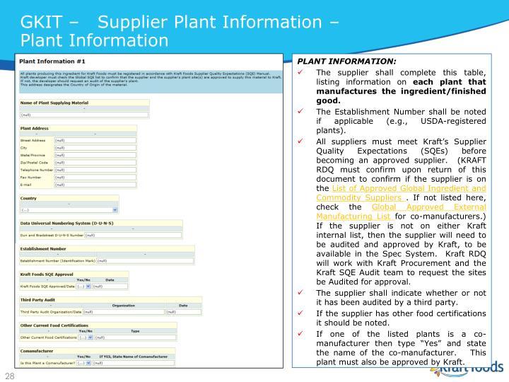 GKIT –   Supplier Plant Information – Plant Information