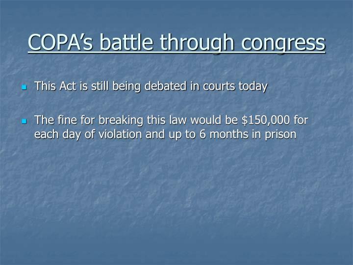 COPA's battle through congress