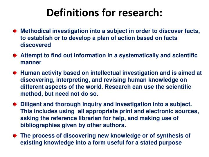Definitions for research: