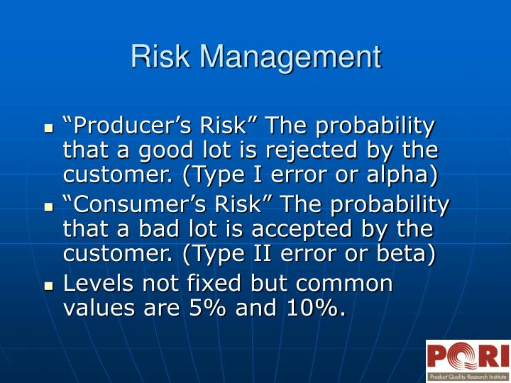 """Producer's Risk"" The probability that a good lot is rejected by the customer. (Type I error or alpha)"