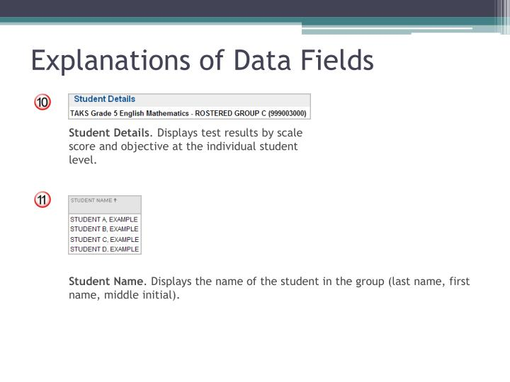 Explanations of Data Fields
