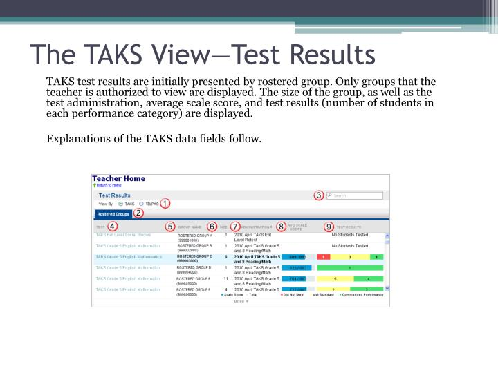 The TAKS View—Test Results