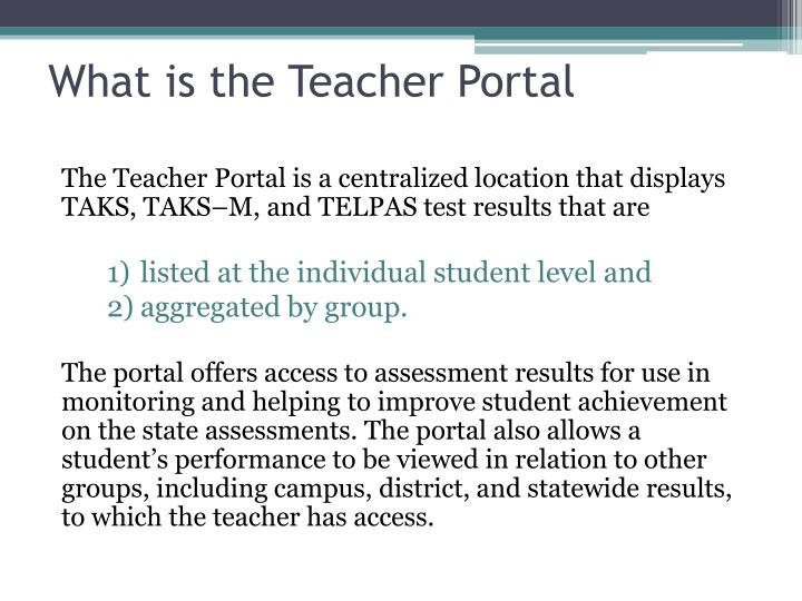 What is the Teacher Portal