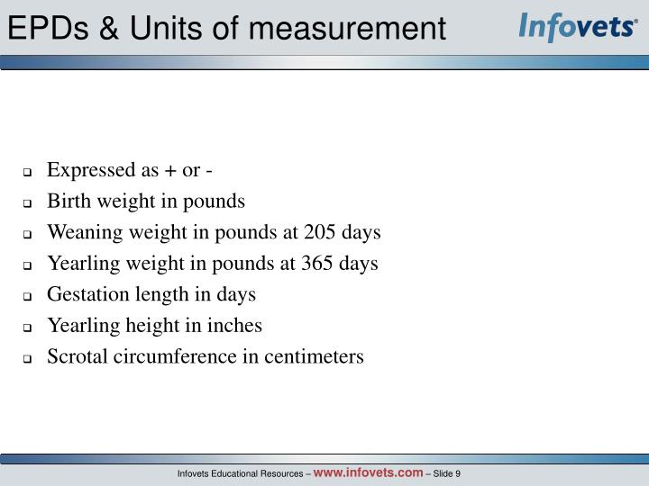 EPDs & Units of measurement
