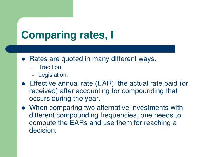 Comparing rates, I