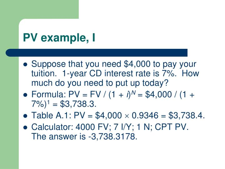PV example, I