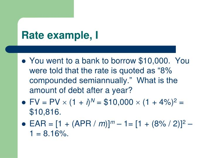 Rate example, I