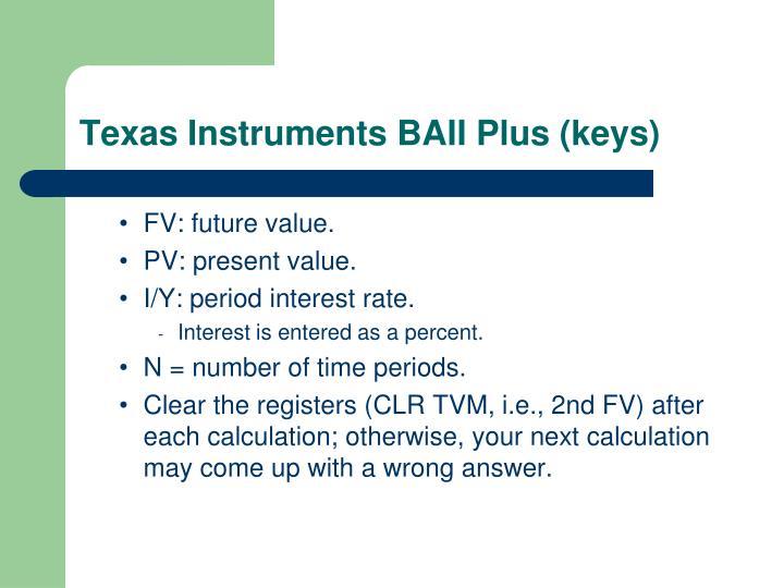 Texas Instruments BAII Plus (keys)