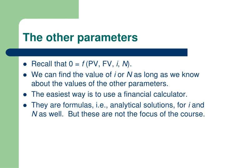 The other parameters