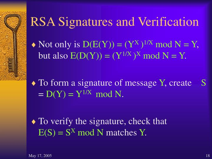 RSA Signatures and Verification