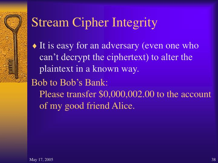 Stream Cipher Integrity