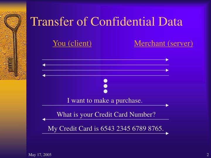 Transfer of confidential data