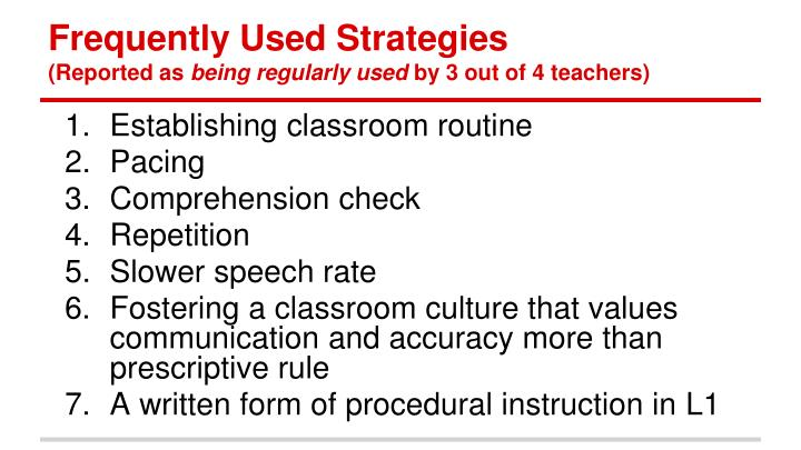 Frequently Used Strategies