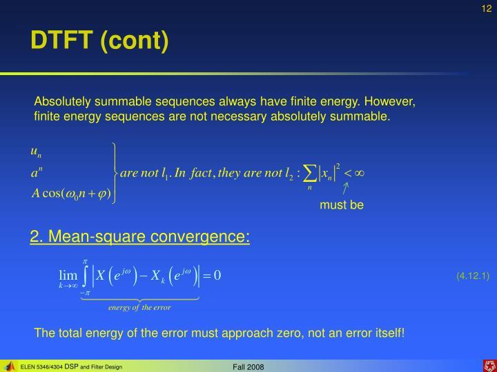 DTFT (cont)