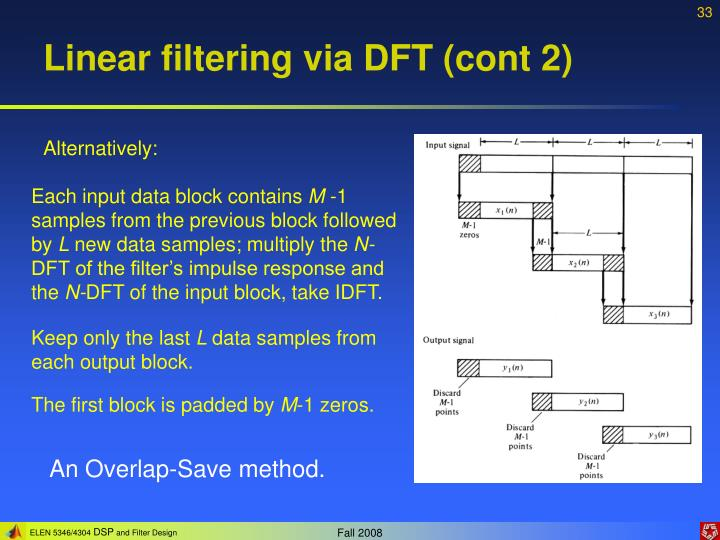 Linear filtering via DFT (cont 2)
