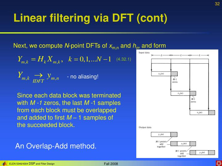 Linear filtering via DFT (cont)