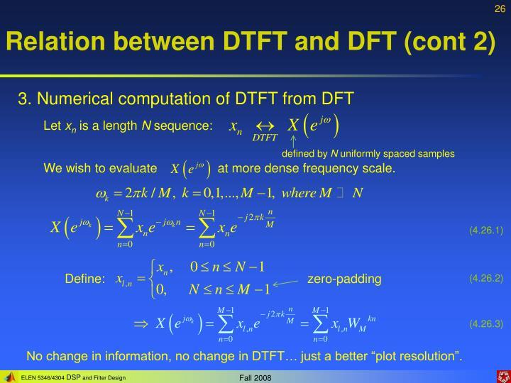 Relation between DTFT and DFT (cont 2)