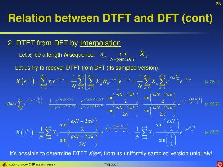 Relation between DTFT and DFT (cont)