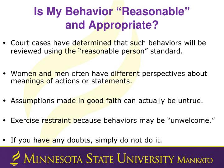 "Is My Behavior ""Reasonable"""