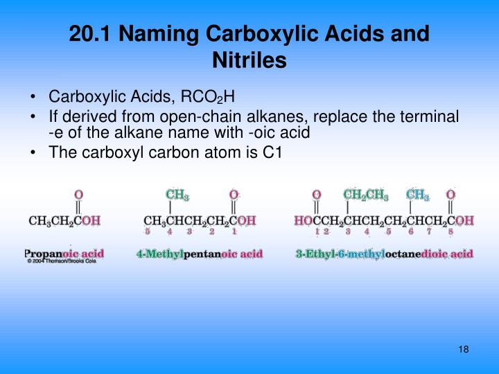 20.1 Naming Carboxylic Acids and Nitriles
