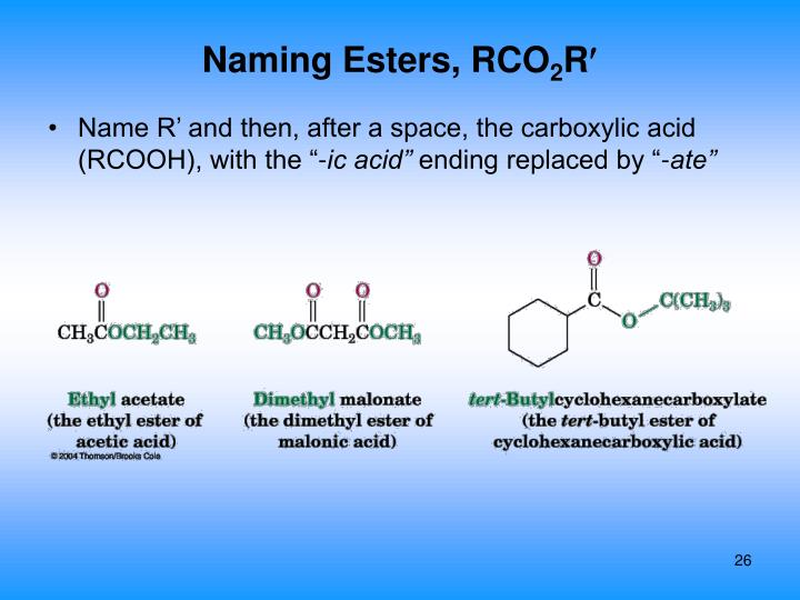 Naming Esters, RCO