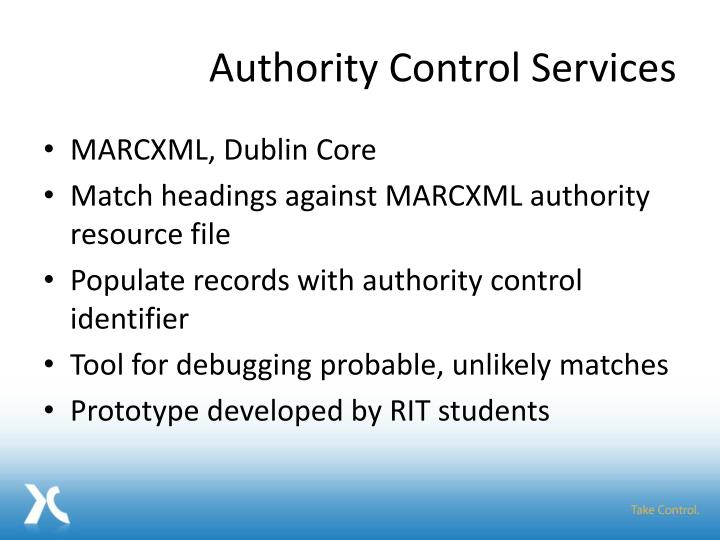 Authority Control Services