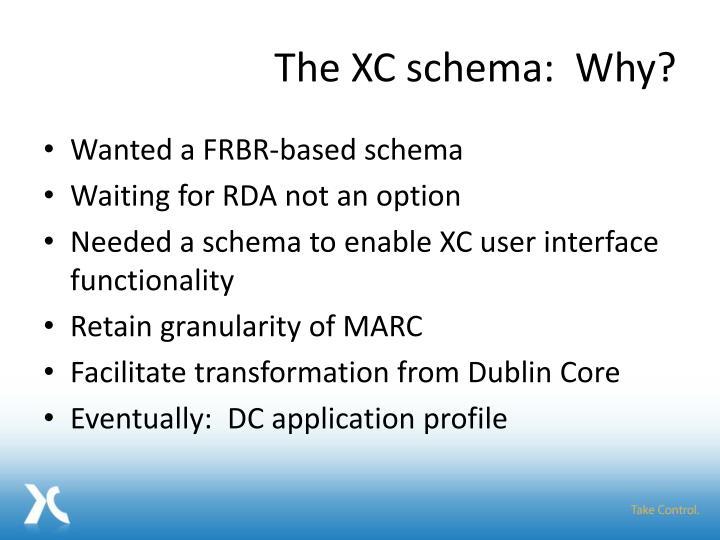 The XC schema:  Why?