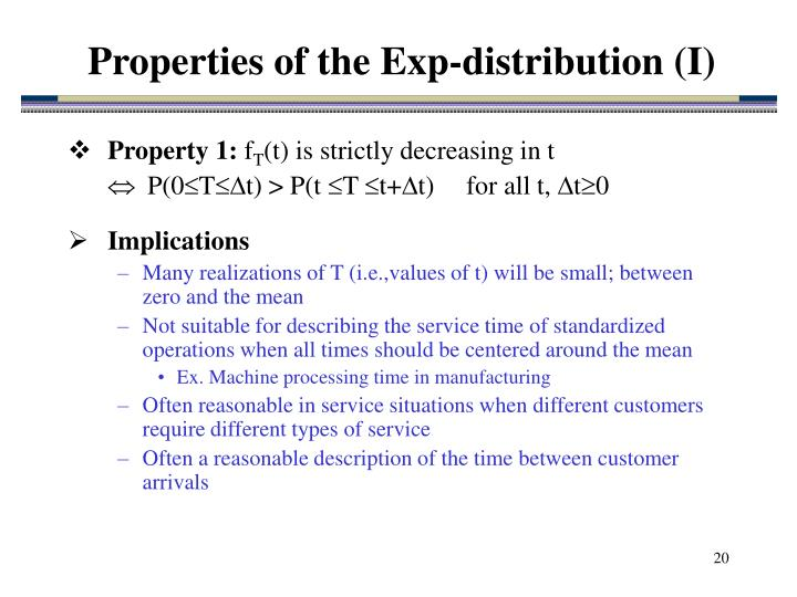 Properties of the Exp-distribution (I)