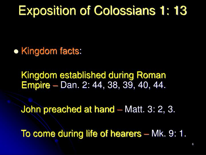 Exposition of Colossians 1: 13