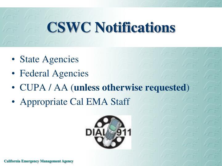 CSWC Notifications