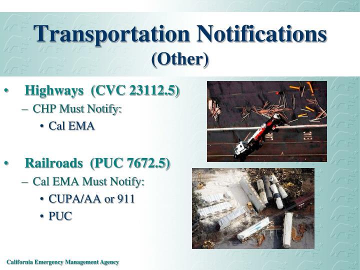 Transportation Notifications