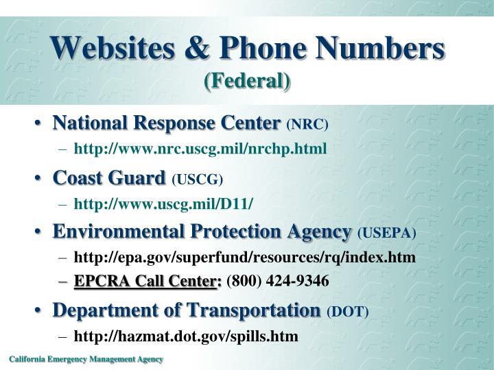 Websites & Phone Numbers